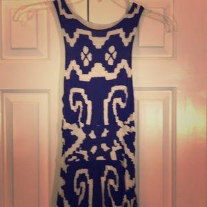 Anthropologie Maeve navy cream Aztec dress. SZ XXS